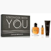Estuche Emporio Armani Stronger With You Edt 100 ml + Miniatura 15 ml + Gel de Ducha 75 ml