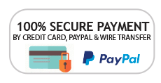 100% Secure Payment by credit card, paypal and wire transfer